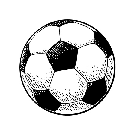 Soccer ball Engraving vintage vector black illustration. Isolated on white background. Hand drawn design element for label and poster Stock Illustratie