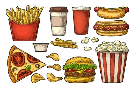 Set fast food isolated on white background for menu.