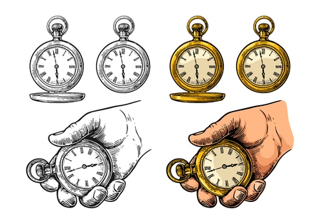 Male hand holding antique metal pocket watch. Vector vintage color engraving illustration. Stock Vector - 99829626
