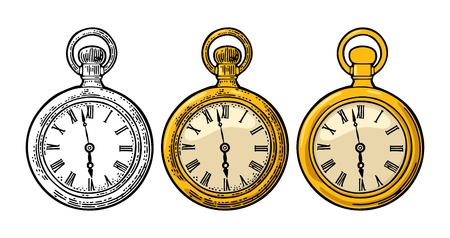 Antique pocket watch. Vintage vector color and black engraving illustration for info graphic, poster, web. Isolated on white background. Hand drawn design element for label and poster