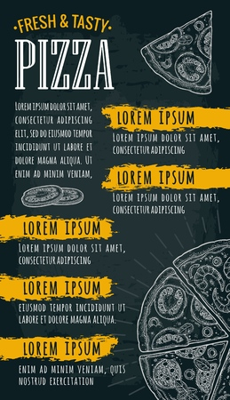 Template restaurant or cafe menu with text. Pizza lettering. Vintage monochrome vector engraving illustration on dark background
