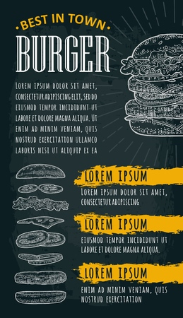 Template restaurant or cafe menu with text. Burger lettering. Vintage monochrome vector engraving illustration on dark background.