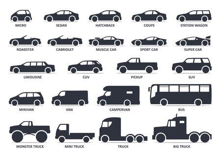 Car type icons set. Vector black illustration isolated on white background with shadow. Variants of model automobile body silhouette for web with title.