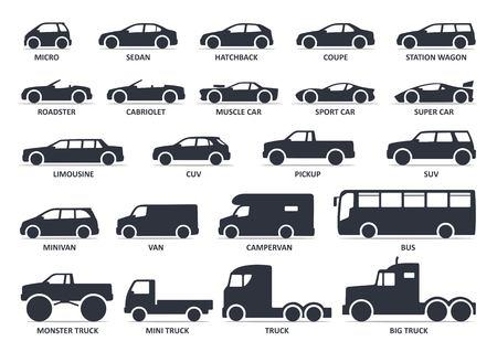 Zestaw ikon typu samochodu. Wektor czarny ilustracja na białym tle na białym tle z cienia. Warianty sylwetki nadwozia modelu samochodu do publikacji w Internecie z tytułem.