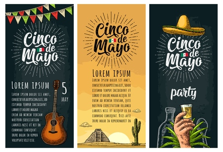 Three vertical poster for Cinco de Mayo. Hand holding glass tequila, bottle, sombrero. Vector vintage color engraving illustration on dark background and desert