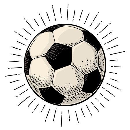 Soccer ball with ray. Engraving vintage vector color illustration. Isolated on white background. Hand drawn design element for label and poster 向量圖像