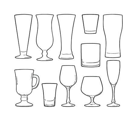 Set empty glass beer, vodka, whiskey, wine, gin, rum, tequila, cognac, champagne, cocktail Vector black vintage illustration outline in retro sketch style. Isolated on white background.