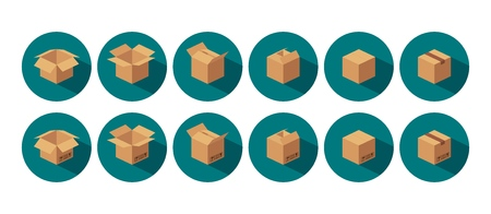 Open and closed recycle brown carton delivery packaging box with fragile signs. For web, icon, banner, infographic. Vector color flat isometric illustration on circle.