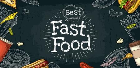 Horizontale poster fastfood-menu. Kopje cola, koffie, hamburger, hotdog, gebakken aardappel, pizza, frietjes, kartonnen emmer popcorn. Vector witte gravure illustratie op zwart bord met vintage letters.