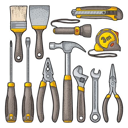 Set hardware tools. Hammer, screwdrivers, tape measure, adjustable wrench, pliers, utility knife, flashlight, brush. Vector color vintage engraving illustration. Hand draw in a graphic style. Isolated on white background. Side view.