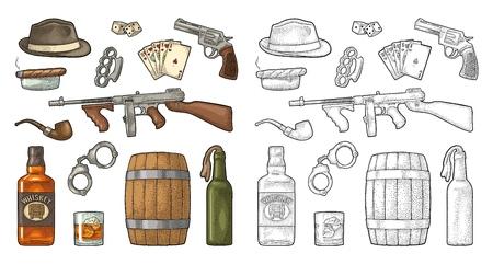 Gangster Mafia Set. Gravur Vintage Vektor Farbillustration. Auf weißem Hintergrund isoliert. Hand gezeichnetes Gestaltungselement für Etikett und Plakat Vektorgrafik