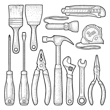 Set hardware tools.  Vector black vintage engraving illustration. Hand draw in a graphic style. Isolated on white background. Side view. Illustration