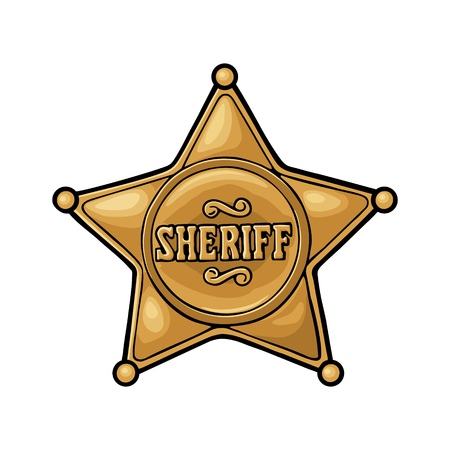 Sheriff star. Vintage color vector engraving illustration for western poster, web, police badge. Isolated on white background.