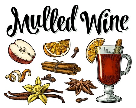 Mulled wine with glass and ingredients. Vector black vintage engraving 向量圖像