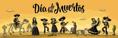 Skeleton Mexican costumes dance and play the guitar, violin, trumpet. Ilustrace