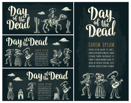 Horizontal poster for Dia de los Muertos. Day of the Dead lettering. Banque d'images - 100244305