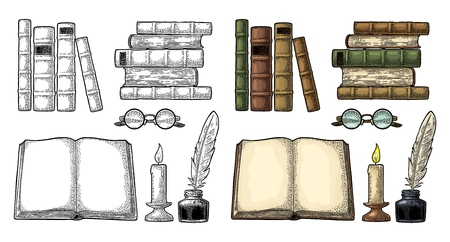 Set education. Inkwell with feather, pile books, glasses, candle. Illustration