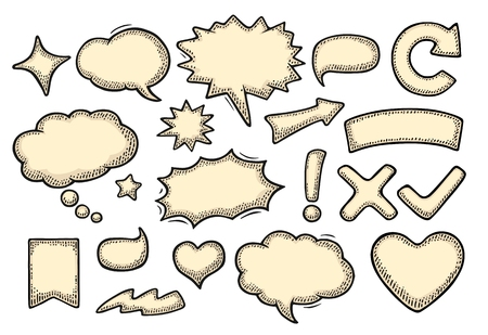 Set speech and thought bubbles. Vintage vector engraving