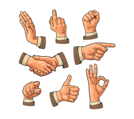 Male hand sign with fist, Like, handshake, Ok and Pointing finger. Illustration