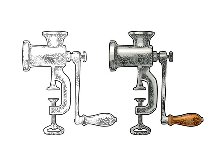 Meat grinder. Vector black vintage engraving