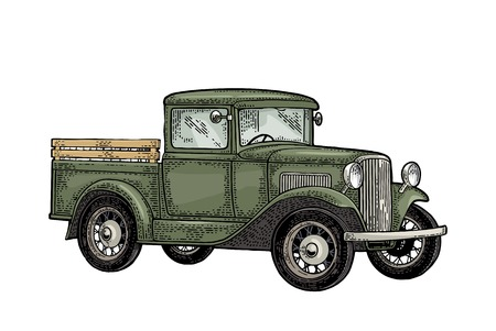 Retro pickup truck. Side view. Vintage color engraving illustration for poster, web. Isolated on white background. Hand drawn design element Фото со стока - 100293804