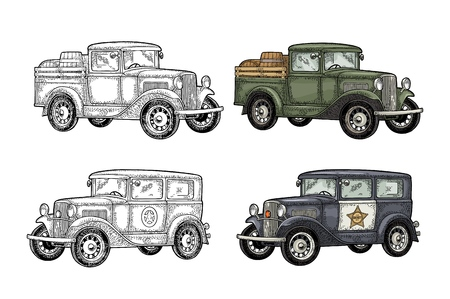 Retro police car and pickup truck with barrel. Vintage engraving