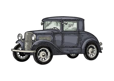 Retro car coupe. Side view. Vintage color engraving Illustration