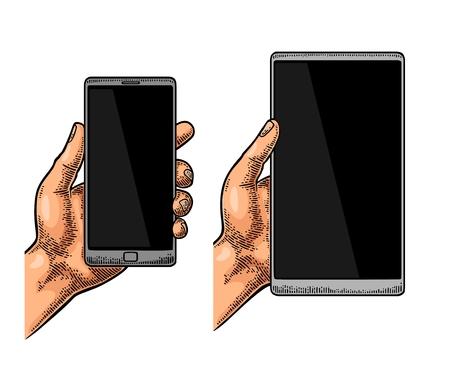 Mâle main tenant un téléphone mobile moderne. Gravure de vecteur dessiné Vintage