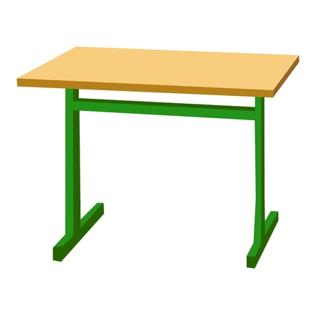 School desk icon. Color vector flat illustration isolated on white.