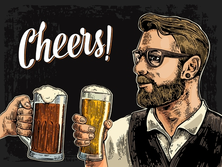 Hipster holding glass of beer and clinking. Cheers toast lettering. Vintage vector color engraving illustration for web, poster, invitation to party. Isolated on dark background.
