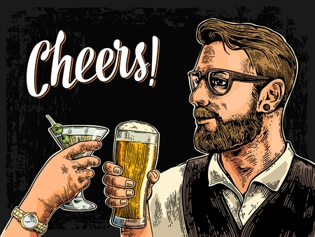 Hipster holding glass of beer and clinking woman hand with cocktail. Cheers toast lettering. Vintage vector color engraving illustration for web, poster, invitation to party.