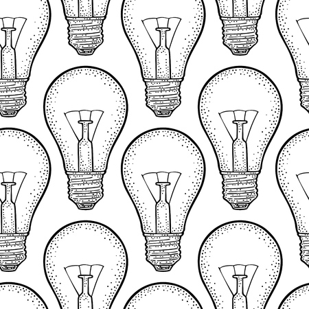 Seamless pattern Glowing light incandescent bulb. Vector vintage black engraving illustration on white background