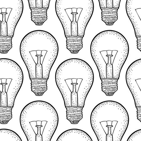 Seamless pattern Glowing light incandescent bulb. Vector vintage black engraving illustration on white background