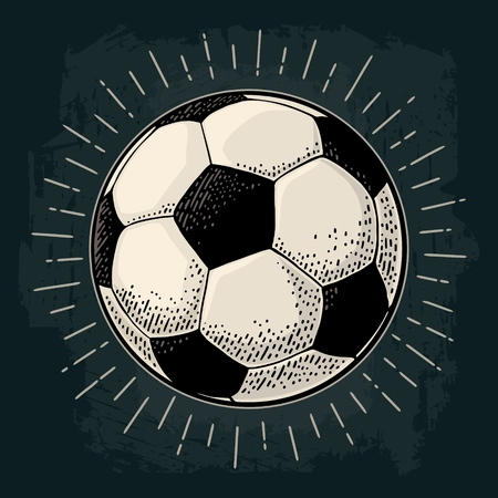 Soccer ball with ray. Engraving vintage vector color illustration. Isolated on dark background. Hand drawn design element for label and poster 向量圖像