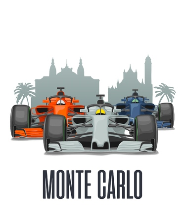 Cityline Monte Carlo and three racing cars on Grand Prix Monaco. Vector flat illustration isolated on white background for poster, web icon Ilustrace