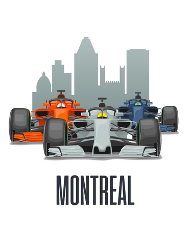 Cityline Montreal and three racing cars on Grand Prix Canada. Vector flat illustration isolated on white background for poster, web icon