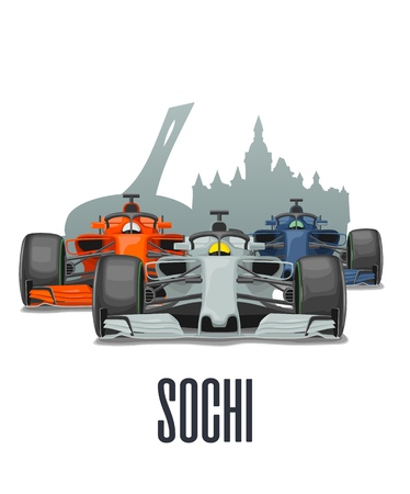 Cityline Sochi and three racing cars on Grand Prix Russia. Vector flat illustration isolated on white background for poster, web icon Ilustrace