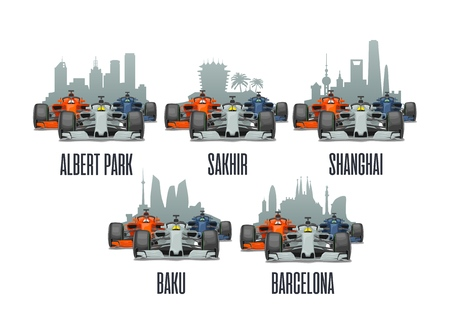 Bahrain, Sakhir, Barcelona, Spain, Shanghai, China, Melbourne, Australia, Baku. Cityline and three racing cars on Grand Prix. Vector flat illustration isolated on white background for poster, web icon
