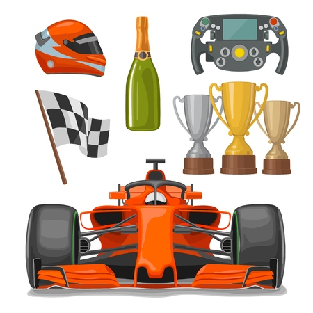 Set race icons. Helmet, car, helm, bottle champagne, winner cup, checkered flag. Vector flat illustration isolated white background Foto de archivo - 101581428