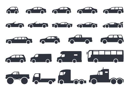 자동차 유형 아이콘을 설정합니다. 그림자와 흰색 배경에 고립 된 벡터 검은 그림. 웹용 모델 자동차 바디 실루엣의 변형