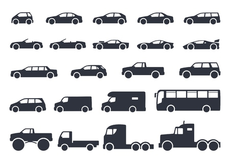 Car type icons set. Vector black illustration isolated on white background with shadow. Variants of model automobile body silhouette for web