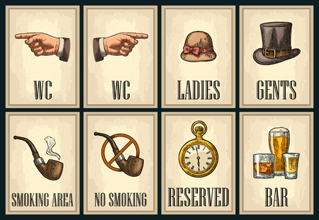 Set signboard. Pointing finger. Toilet retro vintage grunge poster for ladies, cents. The Sign No Smoking in Vintage Style. Vector color engraved illustration on beige background. For bars, cafe, pub
