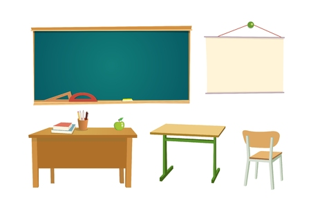 School desk, chipboard and a chair. Vector flat color illustration. Isolated on white background.