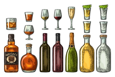 Set glass and bottle whiskey, wine, tequila, cognac, champagne. Vector engraving color vintage illustration isolated on white background