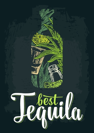 Bottle of tequila with glass, cactus, salt and lime. Best Tequila lettering. Color hand drawn sketch on vintage black background. Vector engraved illustration