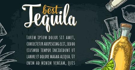 Horizontal poster with glass, bottle, salt, agave, slice lime. Best Tequila lettering. Vintage color and white vector engraving illustration on dark background.