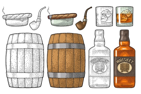 Whiskey glass with ice cubes, barrel, tube, bottle and cigar. Vector vintage color illustration for label, poster, invitation to a party. Isolated on white background. Hand drawn design element. Иллюстрация
