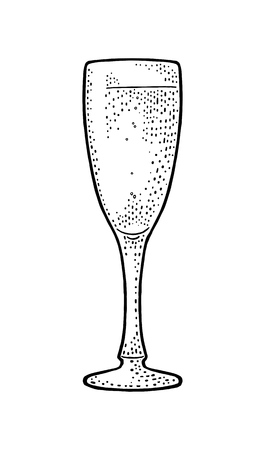 Champagne glass. Vintage vector engraving illustration for web, poster, invitation to party. Hand drawn design element isolated on white background.