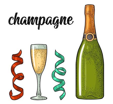 Champagne calligraphic handwriting lettering. Glass, bottle, serpentine. Illustration