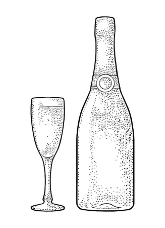 Champagne glass and bottle.